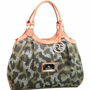 Women's Camouflage Style Shoulder Bag - Gold Logo Charmed Tassel/Dark Green