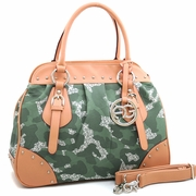 Large Studded Camouflage Style Satchel w/Logo Charmed Tassel/Light Green
