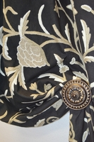 Black Linen Embroidery Floral