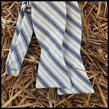 Hitsman - White/Blue Linen Stripe - Bow