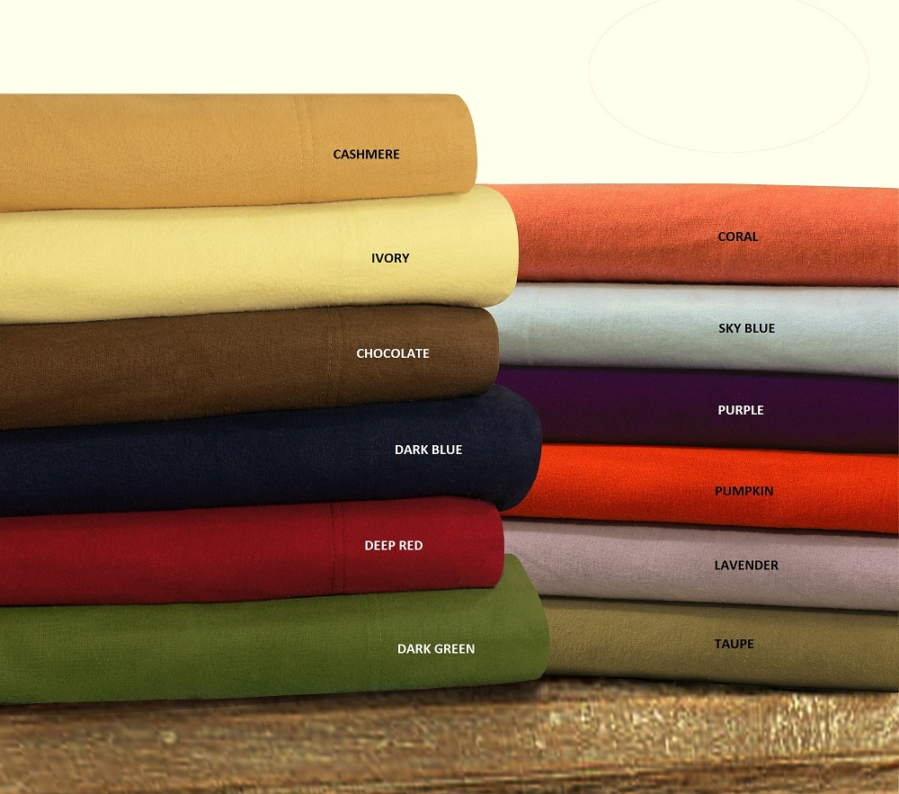 Luxury Solid Flannel Extra Deep Pocket Sheet Set At