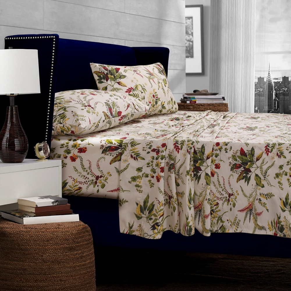 Maui Floral Printed Egyptian Cotton 300 Thread Count Deep Pocket