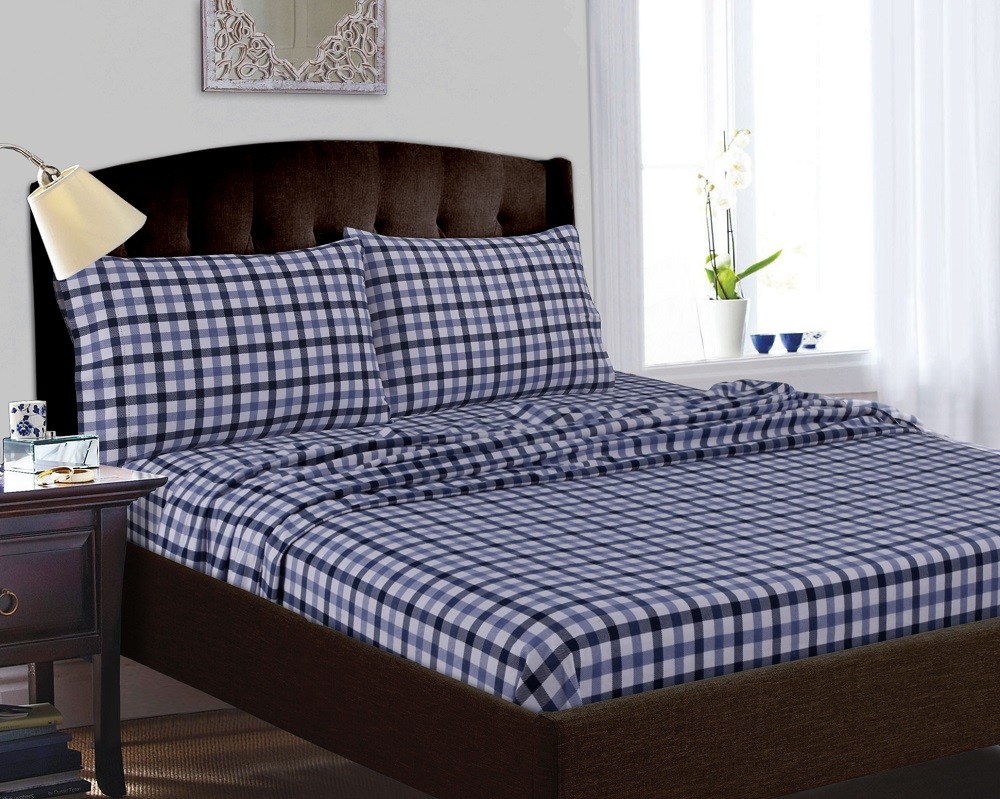 tribeca living 200gsm printed deep pocket flannel sheet set