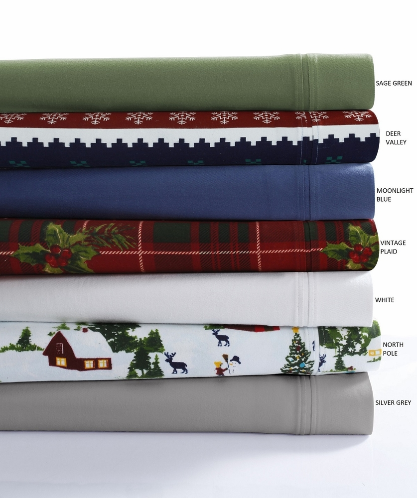 Tribeca Living 230 Gsm Solid Or Printed Deep Pocket Flannel Sheet Set At Linensbargains Com