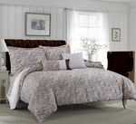 Tribeca Living Fiji 5-Piece Cotton Paisley Duvet Cover Set Chocolate-Grey