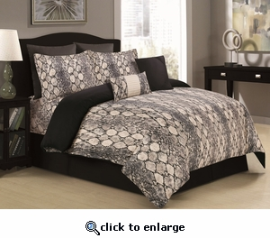 Tribeca Living Kenya 5-Piece Cotton Snake Printed Duvet Cover Set