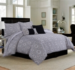 Tribeca Living Maldives 5-Piece Cotton Medallion Duvet Cover Set Black-Cashmere