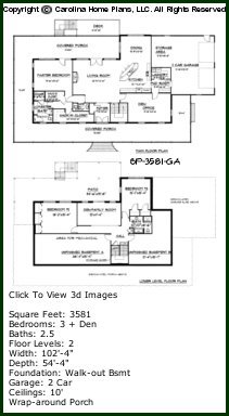 3D Image For CHP-SP-3581-GA - Southern Plantation 3D House Plan Views