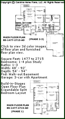 3D Images For CHP-BS-1477-2715-AD - Expandable Craftsman House Plan Views