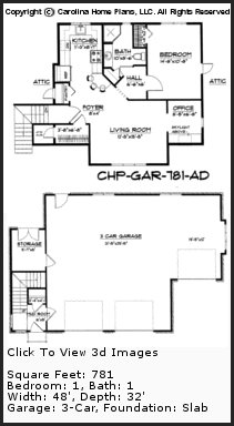 3D Images For CHP-GAR-781-AD - Garage-Apartment 3d House Plan Views