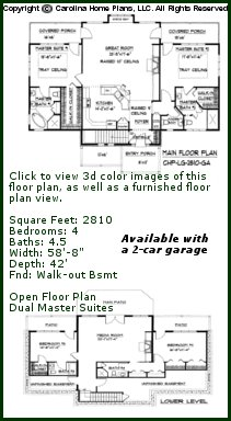 3D Images For CHP-LG-2810-GA - Large Craftsman 3D House Plan Views