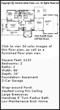 3D Images For CHP-SG-1132-AA - Small Brick 3D House Plan Views