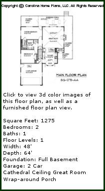 3D Images For CHP-SG-1275-AA - Small Country Style 3D House Plan Views