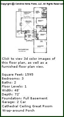 3D Images For CHP-SG-1595-AA - Small Bungalow Style 3D House Plan Views