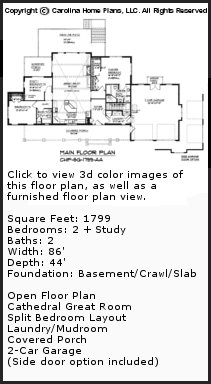 3D Images For CHP-SG-1799-AA - Small Craftsman Style 3D Home Plan Views