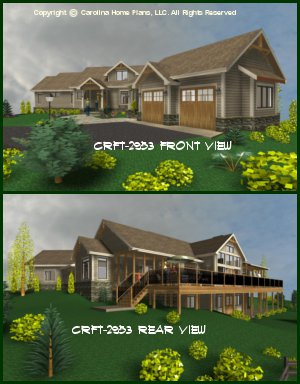 CHP-CRFT-2953-GA <br />Large Craftsman Style House Plan <br />2 Bdrms + Loft, 3 Baths + 2 Half, 2 Story (Up)