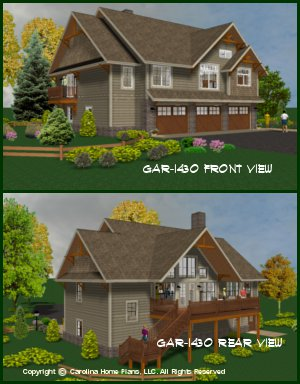 CHP-GAR-1430-AD<br />Small Budget Garage-Apartment Plan<br />1 Bedroom, 1½ Baths, 2 Floors