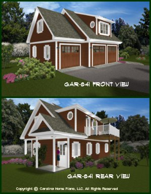 CHP-GAR-841-AD<br />Low Cost Garage-Apartment Plan<br />1 Bedroom, 1 Bath, 2 Story
