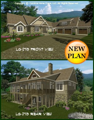 CHP-LG-2715-GA<br />Large Craftsman House Plan <br />4 Br + Study, 3 Baths, 1 Br Apartment