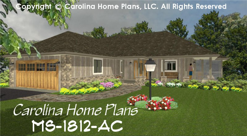 Chp Ms 1812 Ac Mid Sized Open House Plan 2 Br Study 2 Baths 1 Story
