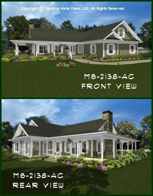 CHP-MS-2138-AC<br />Midsize Country Cottage House Plan <br />2 Br + Bonus Rm, 2½ Baths, 1-Story