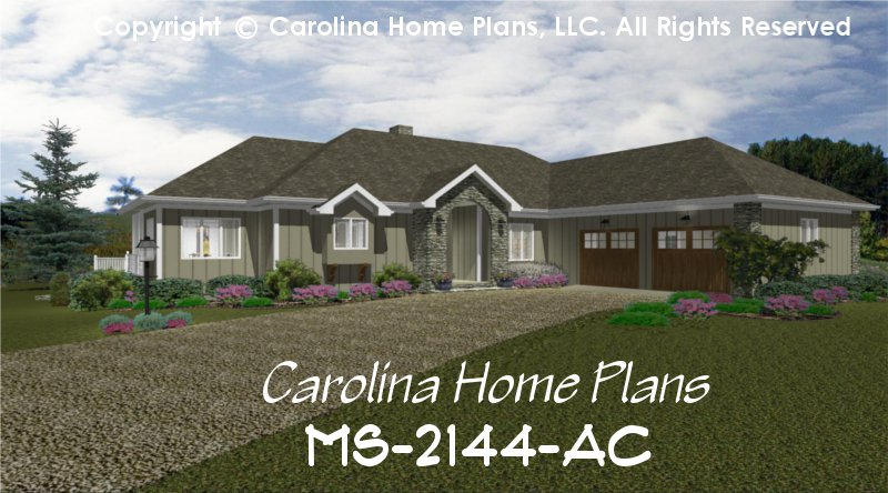 Midsize Contemporary Ranch Style Home Plan MS 2144 AC Sq Ft