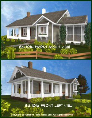 CHP-SG-1016-AA<br />Small Cottage Style House Plan  <br />2 Bedroom, 2 Bath, 1 Story