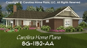 CHP-SG-1152-AA<br />Small Brick Ranch Style House Plan<br />2 Bedrooms, 1 Bath, 1 Story