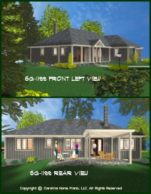 CHP-SG-1199-AA<br />Small Ranch Style House Plan <br />2 Bedrooms, 2 Baths, 1 Story