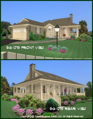 CHP-SG-1275-AA<br />Small Country Style House Plan<br />2 Bedroom, 1 Bath, 1 Story