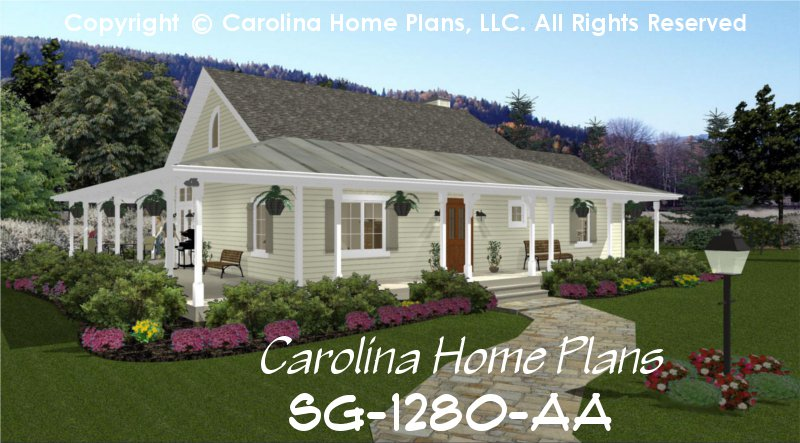 small country cottage house plan 2 br 2 baths 1 story - Small Cottage House Plans 2