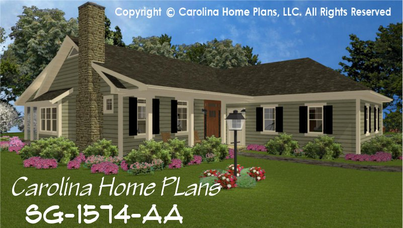 CHP-SG-1574-AA Small Country Style House Plan 3 Bedroom, 2½ Bath, 1 ...