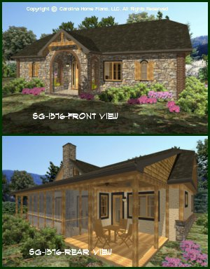 CHP-SG-1576-AA<br />Small Stone Cottage House Plan<br />2 Br + Study, 2 Baths, 1 Story