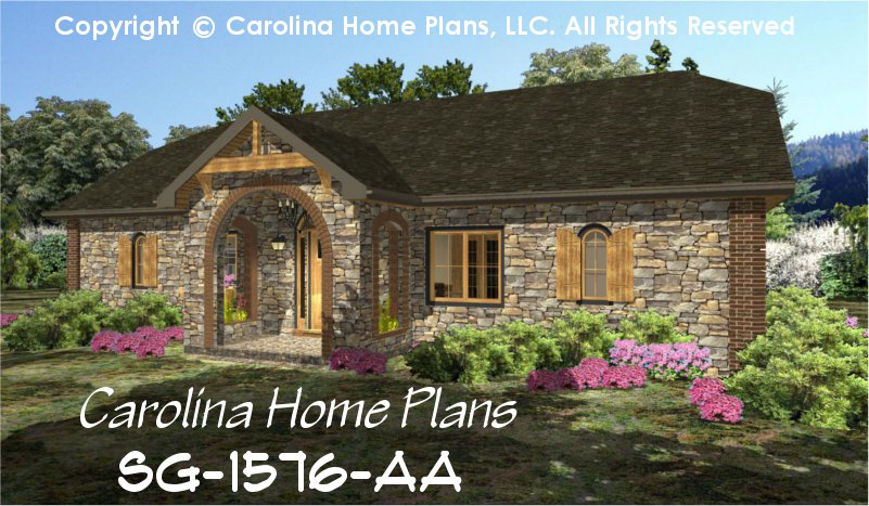 Small Stone Cottage House Plan CHP SG 1576 AA Sq Ft Affordable