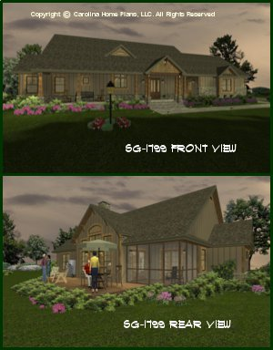 CHP-SG-1799-AA <br />Small Craftsman Style Home Plan<br />2 Bedrooms + Study, 2 Baths, 1 Story