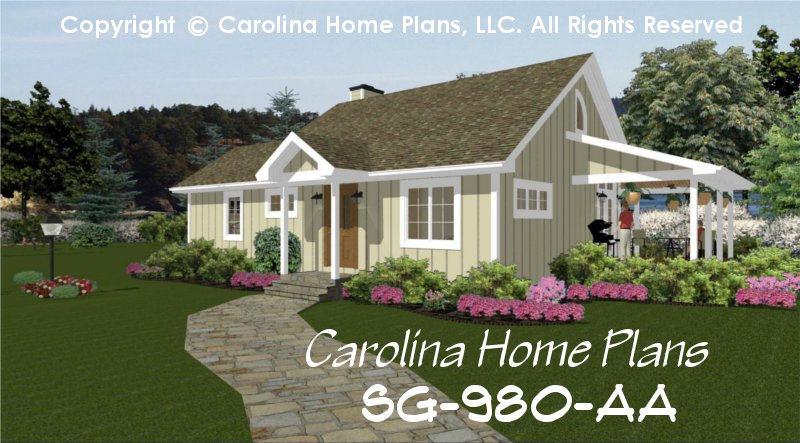 small contemporary cottage house plan 2 br 2 baths 1 story - Small Cottage House Plans 2