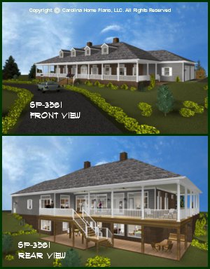 CHP-SP-3581-GA<br />Large Southern Plantation Style House Plan<br />3 Bedrms + Den, 2½ Baths 2 Story (Down)