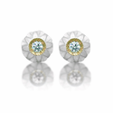 White Carved Pearl & Diamond Stud Earrings