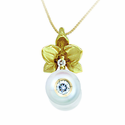 White Pearl & Diamond Flower Necklace