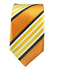 100% Silk Slim Tie by Paul Malone . Gold a. Bronze