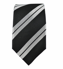 100% Silk Slim Tie by Paul Malone . Black a. Silver