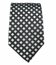 100% Silk Slim Tie by Paul Malone . Silver Diamonds