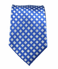 100% Silk Slim Tie by Paul Malone . Blue a. Silver