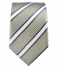 100% Silk Slim Tie by Paul Malone . Grey Stripes