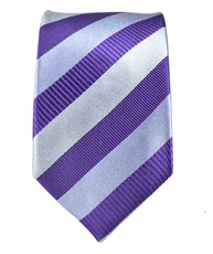 100% Silk Slim Tie by Paul Malone . Lavender a. Silver