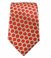 100% Silk Slim Tie by Paul Malone . Red a. Gold