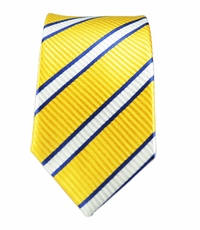 100% Silk Slim Tie by Paul Malone . Yellow, White a. Blue