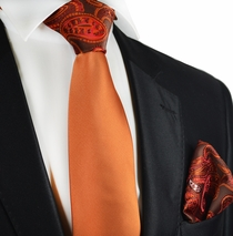 Amberglow Contrast Knot Tie Set by Paul Malone