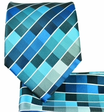 Aqua Blue Checkered Tie and Pocket Square