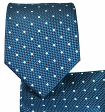 Aqua Green and White Necktie and Pocket Square
